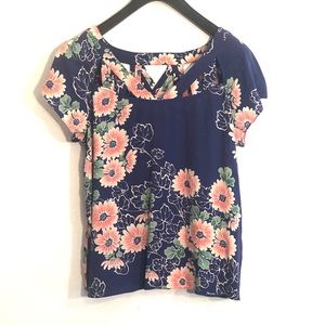 [Anthropologie] Blue Floral Cut Out Blouse - 8